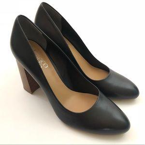 FRANCO SARTO Black Wooden Block Heel Shoes